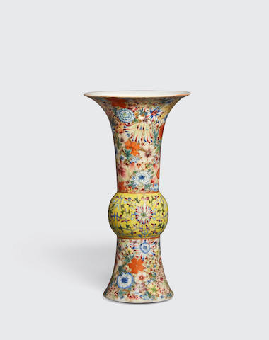 A FAMILLE JAUNE AND MILLEFLEUR GU-FORM VASE Late Qing/Republic period