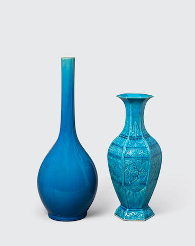 Two turquoise glazed vases Late Qing/Republic period