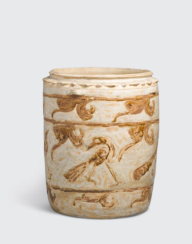 A cream glazed storage jar with brown inlay bird decoration Ly-Tran dynasty, 12th-14th century