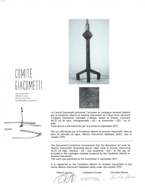 Alberto Giacometti (1901-1966) Pair of Étoile Table Lampsconceived for Jean-Michel Frank circa 1937patinated bronze, stamped by the Comité Giacometti 'AG034' and 'AG035' respectivelyheight excluding armature 16in (40.8cm); overall height 27 7/16in (69.85cm); width 7 3/16in (18.41cm); depth 7in (17.78cm)