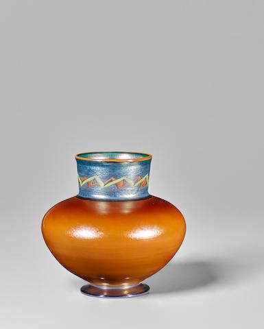 Tiffany Studios (1899-1919) Tel-El-Amarna Vasecirca 1916Favrile glass, engraved '901K L.C. Tiffany-Favrile'height 5 1/2in (14cm); diameter 5 3/4in (14.5cm)