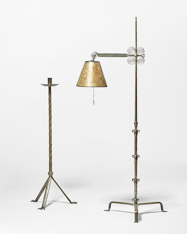 Samuel Yellin (1884-1940) Floor Lamp1933wrought iron, mica, stamped 'Samuel Yellin' and 'To R.E.F. 1933'height 69 1/2 (176.5cm); width 24in (61cm)
