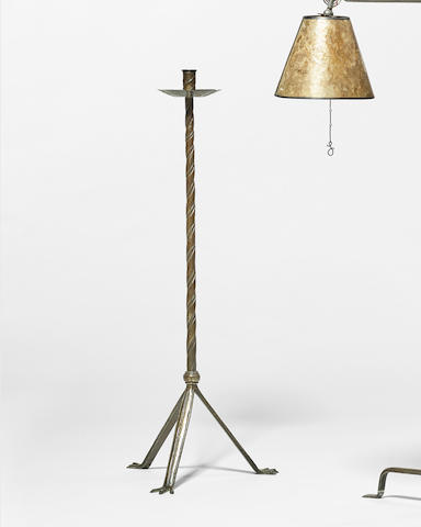 Samuel Yellin (1884-1940) Floor Candlestick1933wrought-iron, stamped 'SAMUEL YELLIN 1933'height 48 1/2in (123cm); width 18 1/2in (47cm)