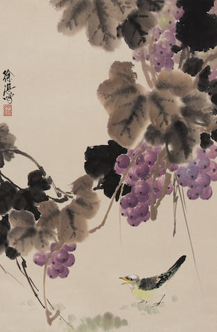 Xu Zhan (b. 1945)  Grapes and Bird