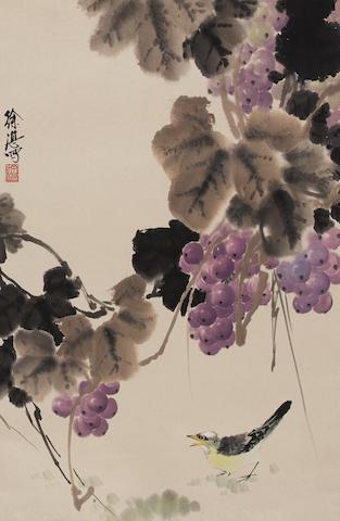 Xu Zhan (b. 1945)  Grapes and Bird