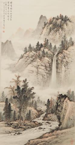 Huang Junbi (1898-1991)  Waterfall Landscape, 1957