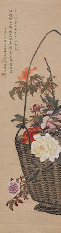Zhang Shaoshi (1913-1991)  Peonies in Flower Basket, 1949