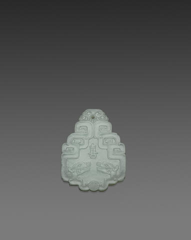 A carved jade pendant 18th/19th century
