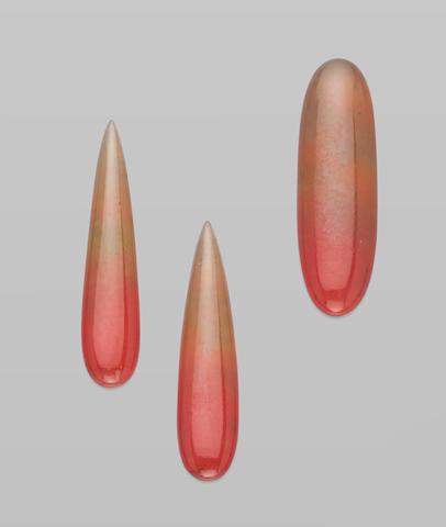 """Suite of Three Hydrogrossular Garnets--""""Transvaal Jade"""""""