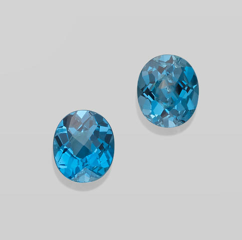 Pair of Two Blue Topazes