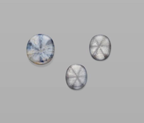 Suite of Three Trapiche Sapphires