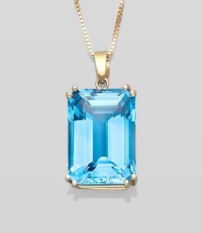 Very Fine Blue Topaz Pendant