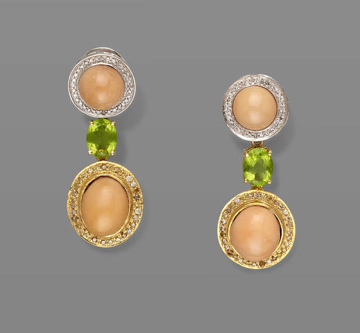 Melo Pearl and Peridot Earrings