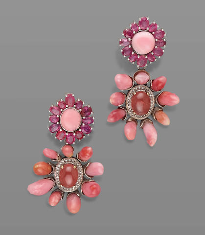 Pair of Conch Pearl, Ruby and Rhodochrosite Earrings