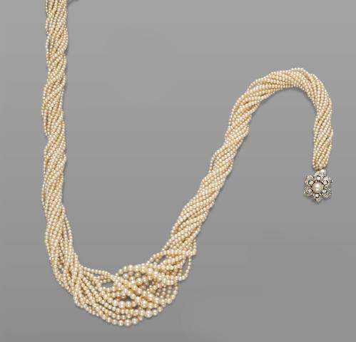 Natural Pearl Multi-strand Necklace