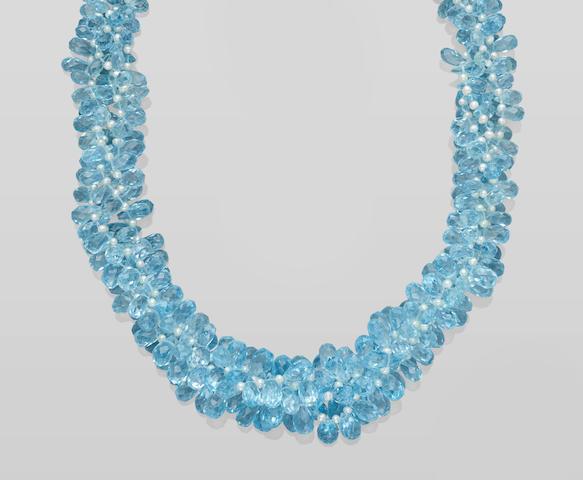 Blue Topaz Bead Necklace