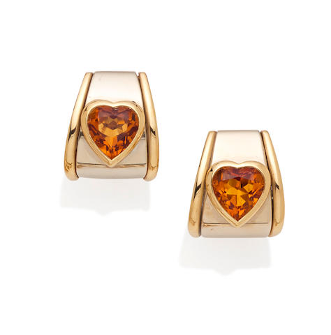 A pair of citrine and 18K bi-color gold ear clips, Marina B.