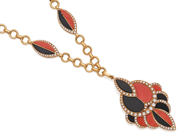 A diamond, coral, black onyx and 18k gold convertible pendant/brooch necklace