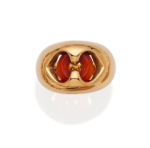 A carnelian and 18K gold ring, Bulgari