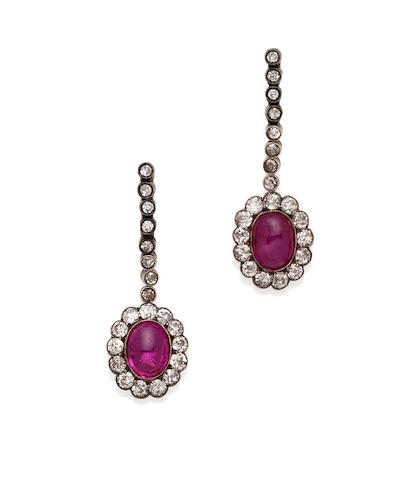 A Pair of Ruby, Diamond and Silver-Topped Gold Earrings