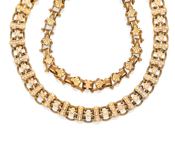 Two 19th century gold chains