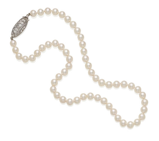 A cultured pearl, diamond and platinum necklace