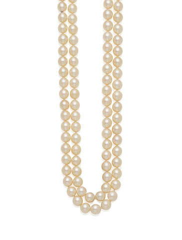 A cultured pearl and silver double strand necklace, Mikimoto