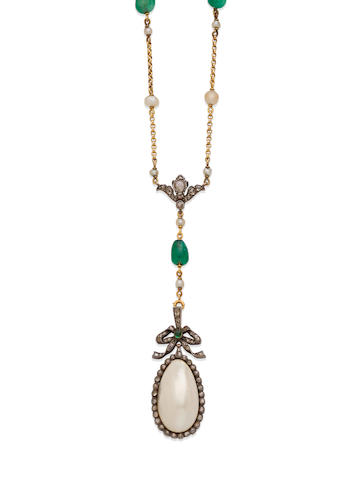 An emerald, blister pearl, pearl, diamond, silver and gold necklace,  French