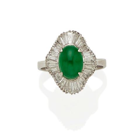 A jadeite jade, diamond and platinum ring