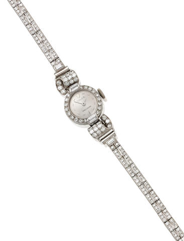 A Lady's Diamond and Platinum Bracelet wristwatch, Rolex