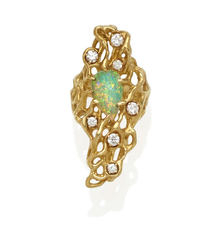 An opal, diamond and 18k gold ring, Ed Wiener