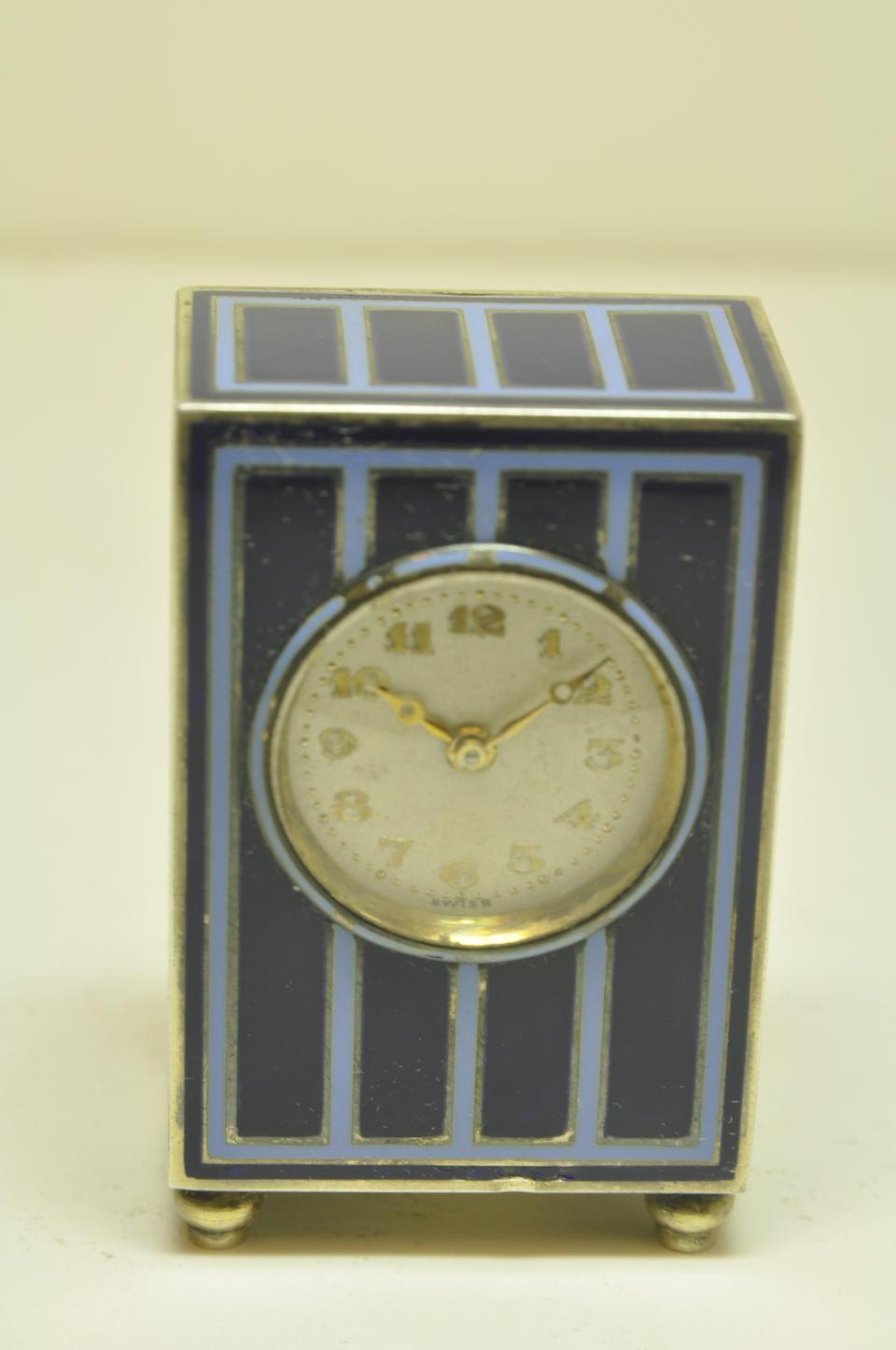 Cartier. An enameled silver gilt miniature pendulettesigned European Watch & Clock Co., 12628 / 1516 1920's