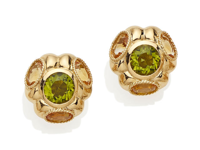 A pair of citrine, peridot and 18k gold ear clips