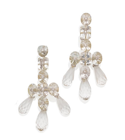 A pair of rock crystal quartz, diamond and 18k gold ear pendants, Prince Dimitri
