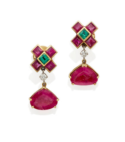 A pair of diamond, emerald, rubellite, platinum and 18k gold earrings, paloma picasso for tiffany & co.,