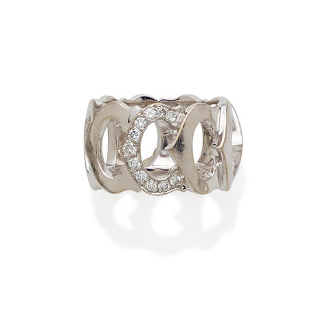A diamond and 18k white gold 'C' ring, Cartier