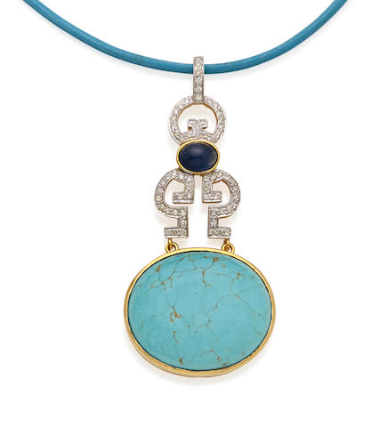 A turquoise, sapphire, diamond and 18k gold pendant on cord