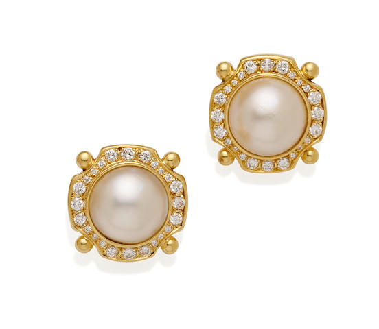 A pair of cultured mabe pearl, diamond and gold ear clips