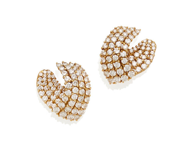 A pair of diamond and 18K gold ear clips, Tiffany & Co.