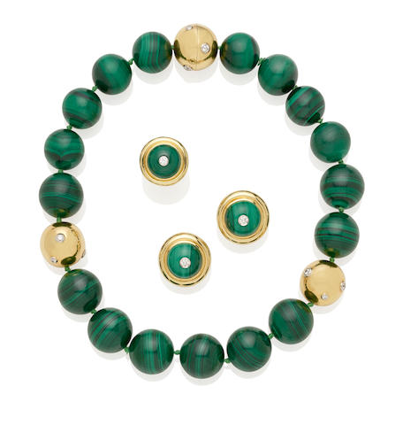 A malachite, diamond, 18K gold, and platinum necklace, earrings and ring set, Paloma Picasso for Tiffany & Co.