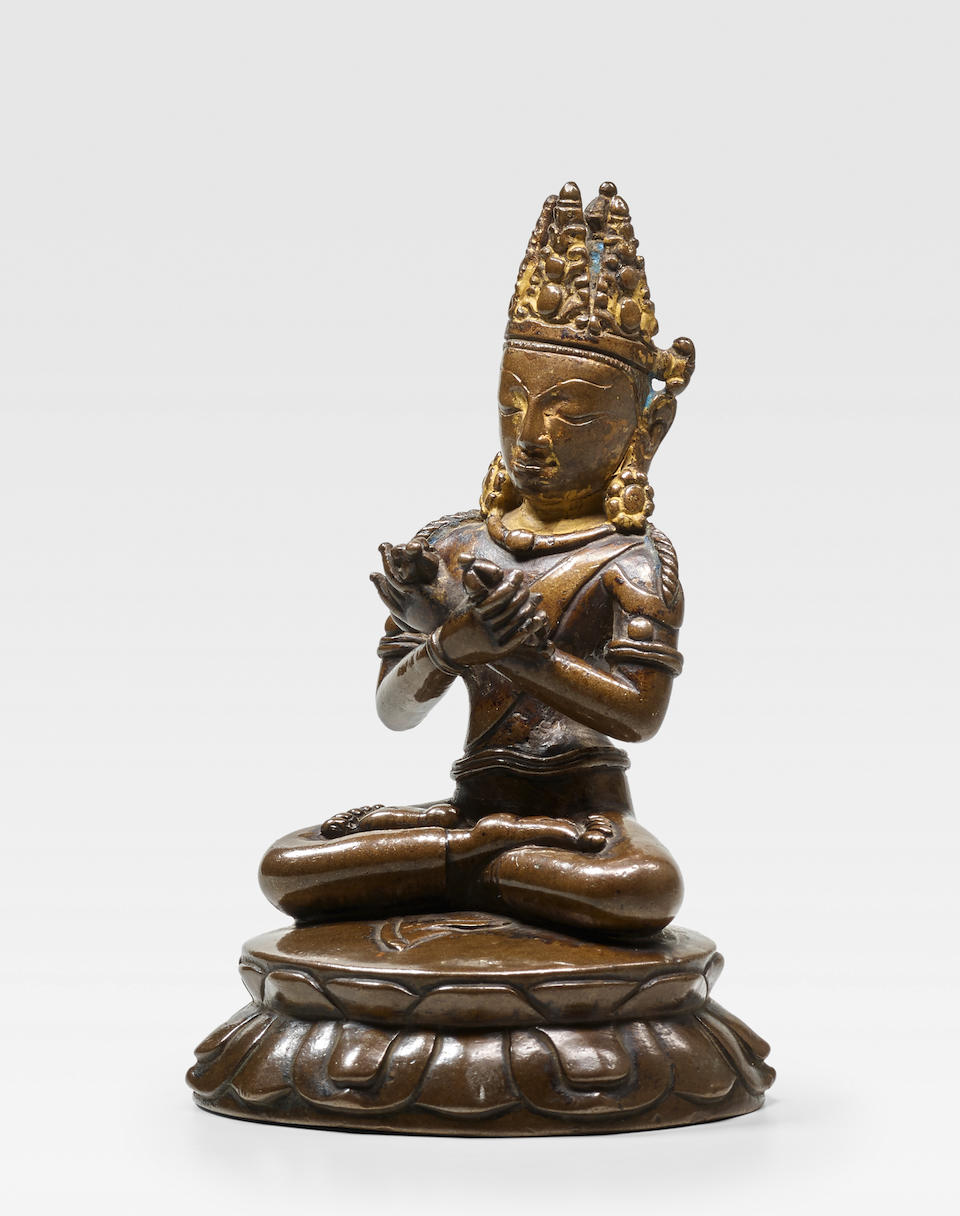 A COPPER FIGURE OF VAJRADHARA TIBET, 13TH/14TH CENTURY
