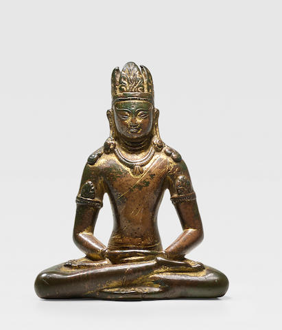 A COPPER FIGURE OF AMITAYUS NEPAL, 9TH CENTURY