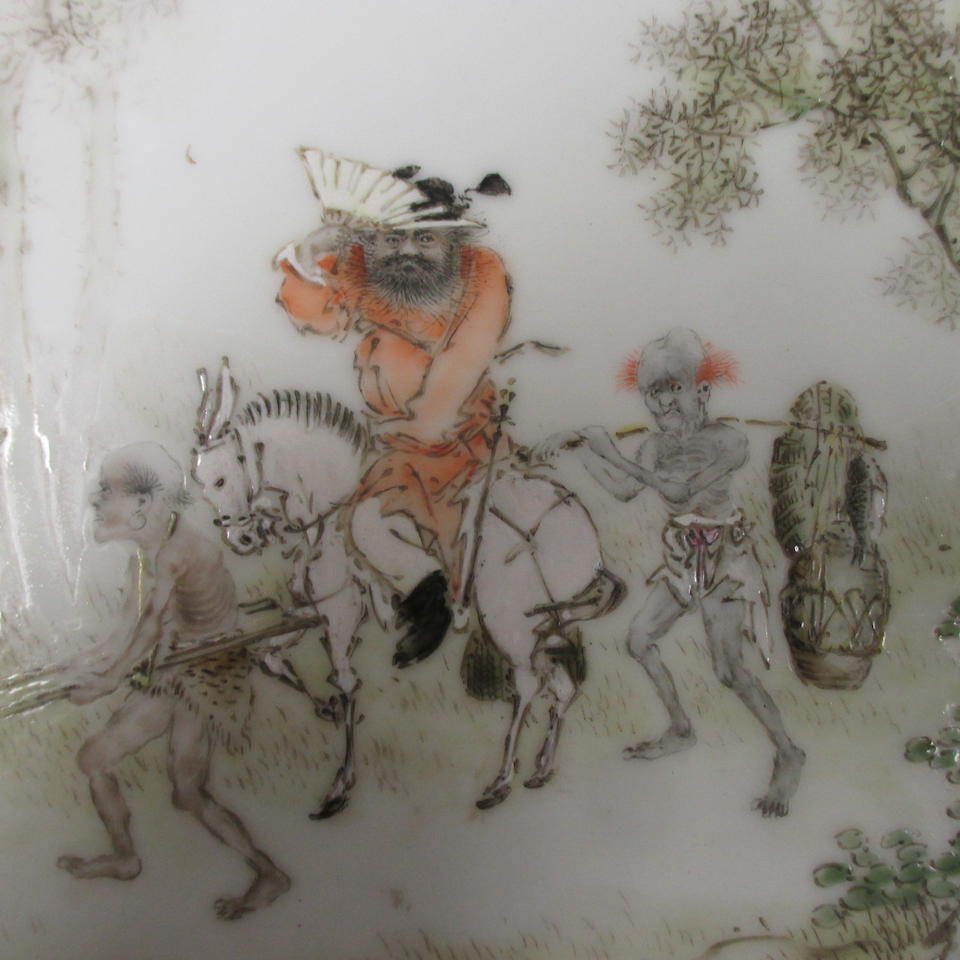 A polychrome enameled porcelain plaque  Wang Qi, dated by inscription to 1928