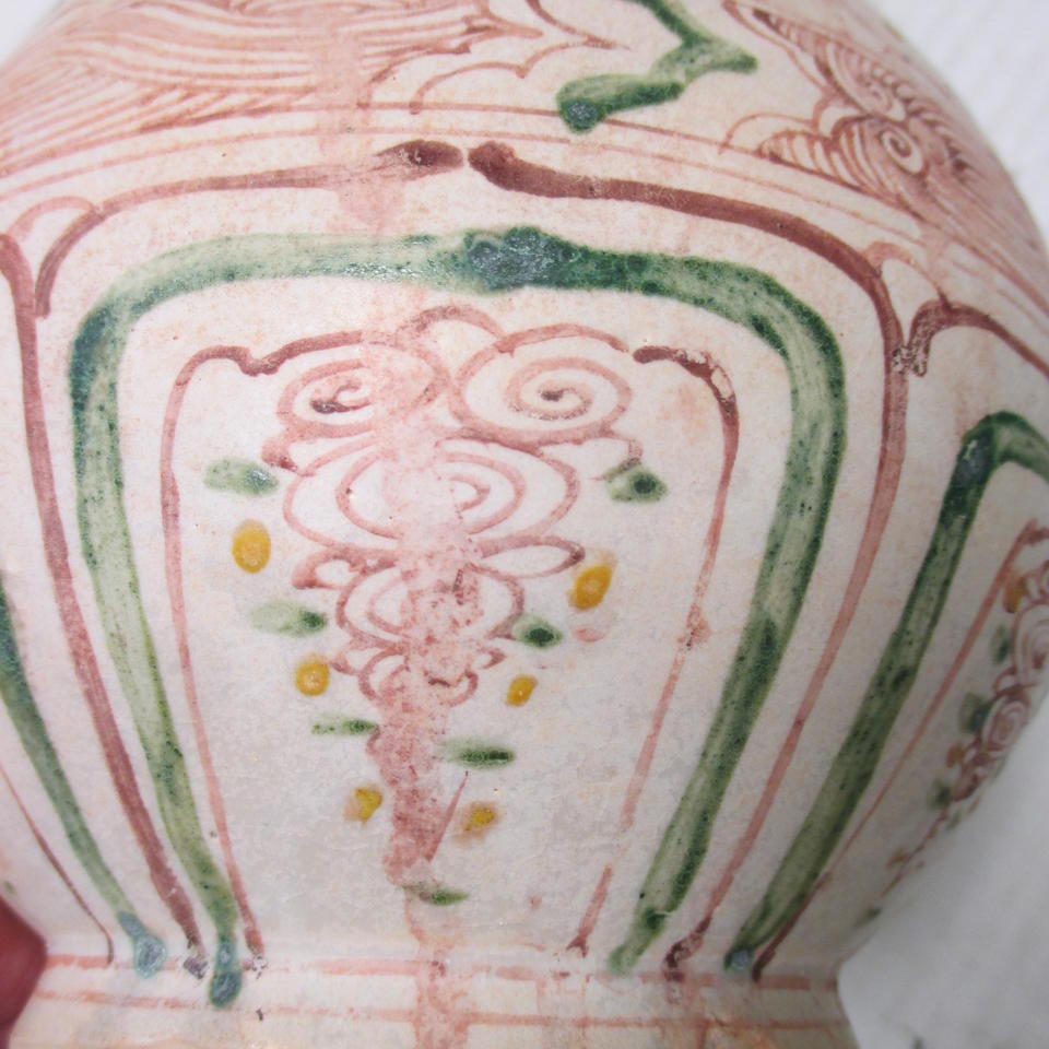 A polychrome enameled bottle, binh ty ba  15th/16th century, the enamels possibly added later