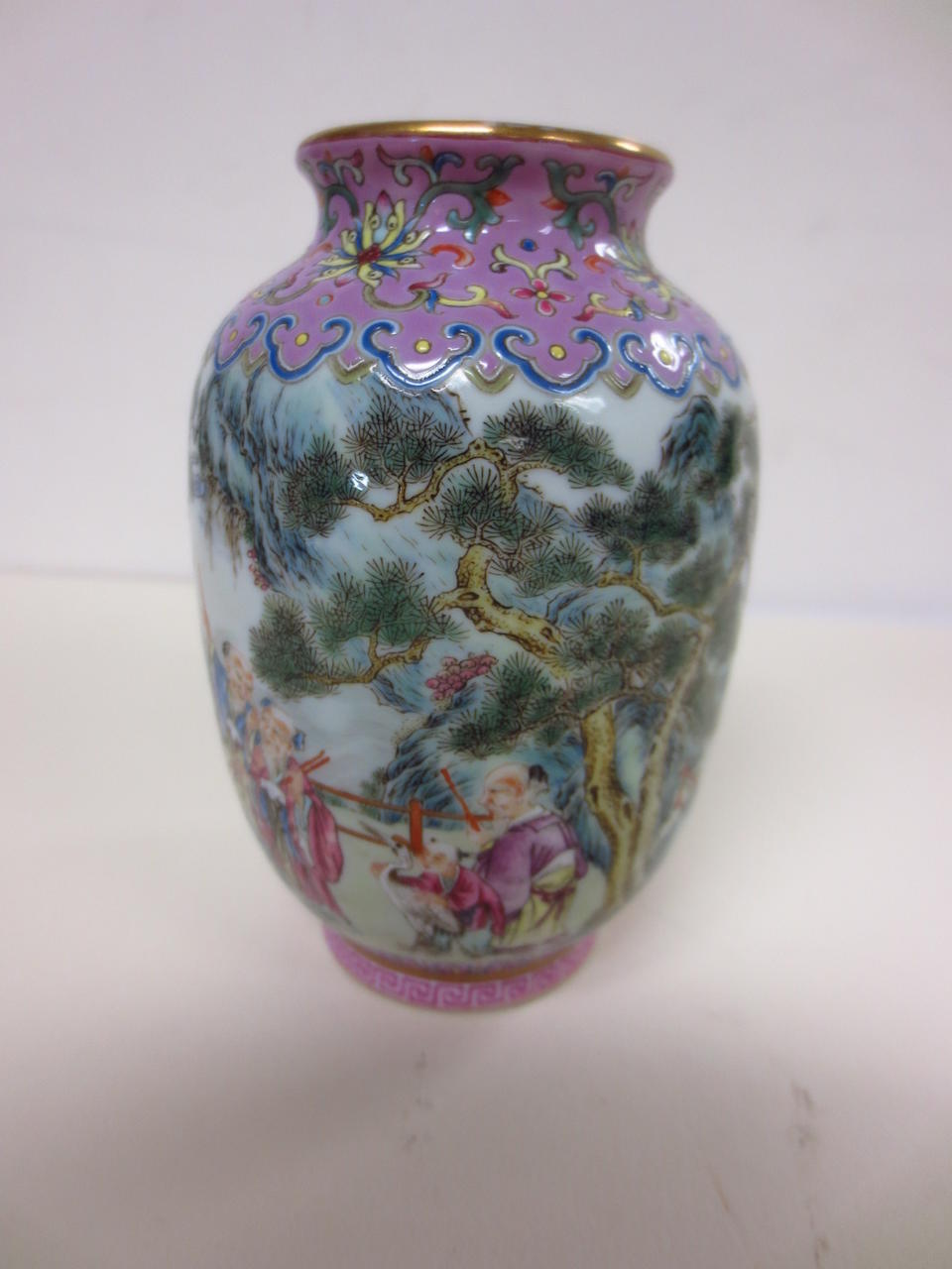 A miniature famille rose enameled porcelain, vase Haoran Tang mark
