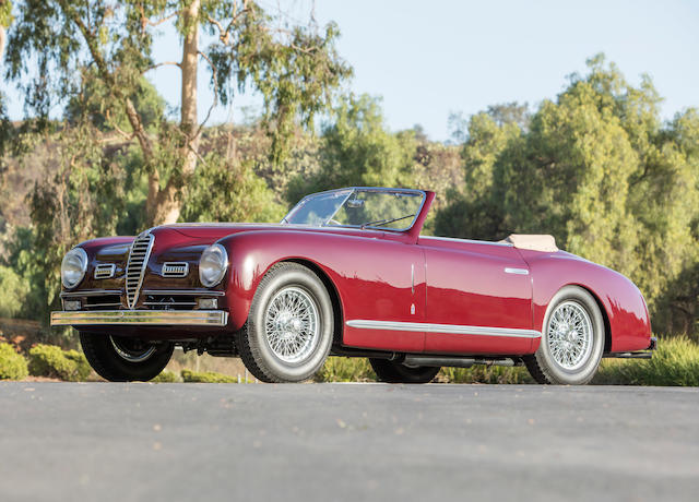 <i>Shown at Pebble Beach, Villa d'Este and Chantilly, and participated in the Mille Miglia</i><br /><b>1951 Alfa Romeo 6C 2500 Super Sport Cabriolet  </b><br />Chassis no. 915922 <br />Engine no. 928329