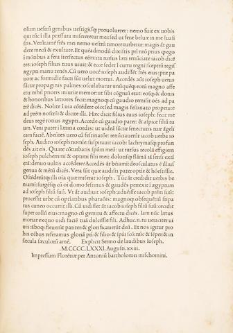 EPHREM SYRUS. 306?-373?.  TRAVERSARIUS, AMBROSIUS, trans. Sermones. Florence: Antonio Di Bartolomeo Miscomini, 1481.