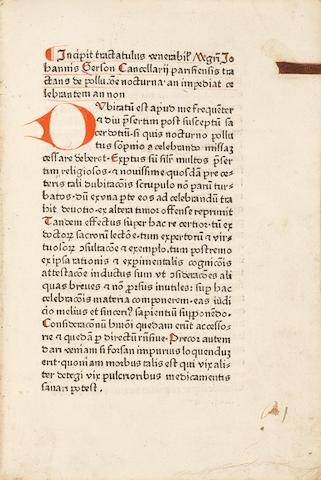GERSON, JOHANNES. 1362-1428?. Tractatulus de pollutione nocturne, an impediat celebrantum an non. [Cologne: Johann Guldenschaff, c. 1480.]