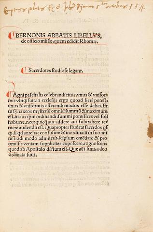 BERNO, ABBOT OF REICHENAU. C.978-1048.   Libellus de officio missae quem edidit Rhomae.  Strasbourg: Matthias Schuerer, 1511.