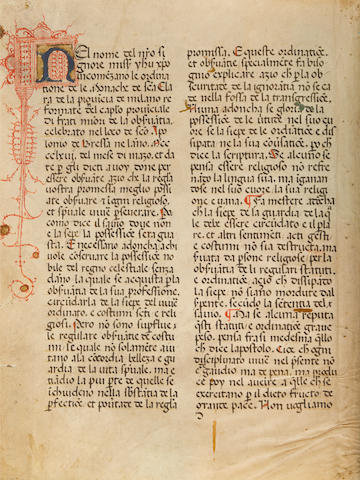 MANUSCRIPT: POOR CLARES. Italian Manuscript on vellum, the Rule of St. Clare of Assisi and statutes of the province of Milan,